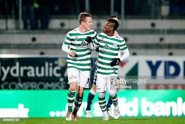 Goalscorer Jeppe Curth and Serge Deble of Viborg FF celebrates after scoring their first goal during the Danish Alka Superliga match between Viborg...