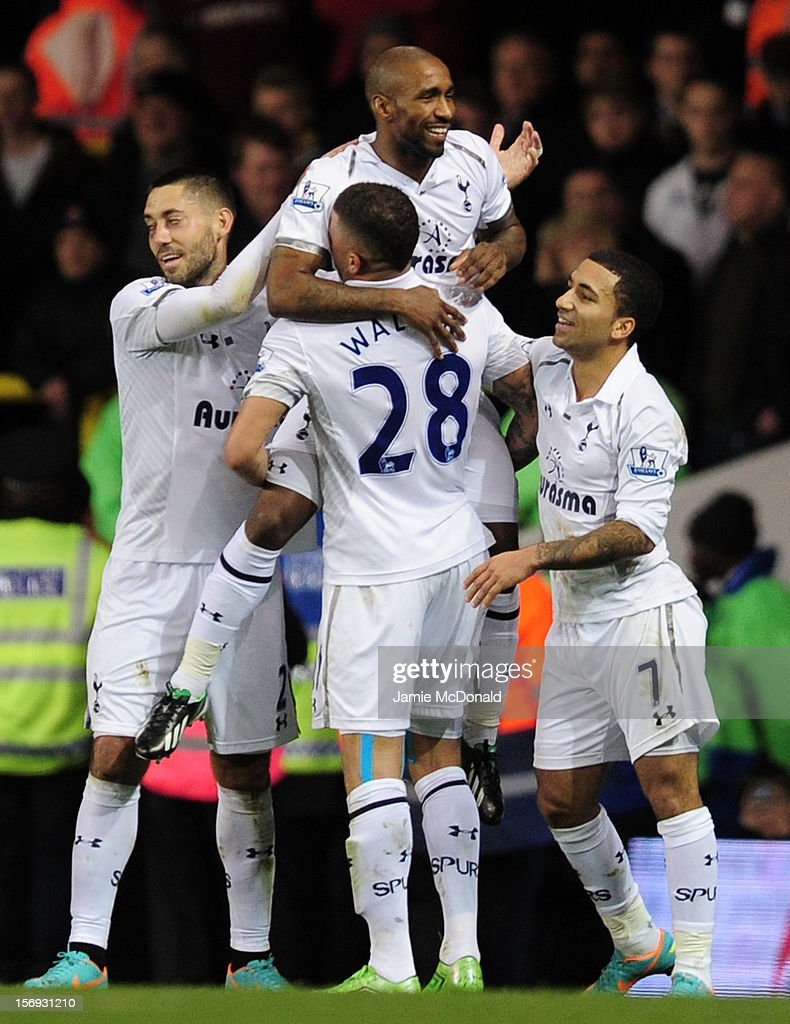 Goalscorer <a gi-track='captionPersonalityLinkClicked' href=/galleries/search?phrase=Jermain+Defoe&family=editorial&specificpeople=171106 ng-click='$event.stopPropagation()'>Jermain Defoe</a> of Tottenham Hotspur celebrates the first goal with <a gi-track='captionPersonalityLinkClicked' href=/galleries/search?phrase=Clint+Dempsey&family=editorial&specificpeople=547866 ng-click='$event.stopPropagation()'>Clint Dempsey</a>, Kyle Walker, Aaron Lennon of Tottenham Hotspur during the Barclays Premier League match between Tottenham Hotspur and West Ham United at White Hart Lane on November 25, 2012 in London, England.
