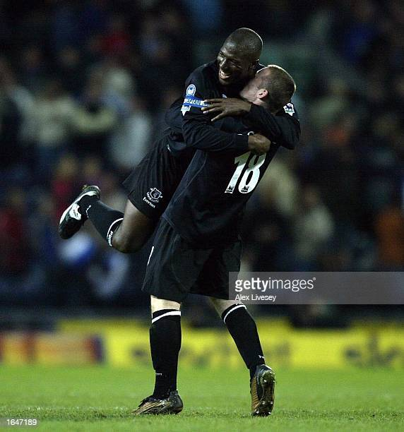 Goalscorer Kevin Campbell and Wayne Rooney of Everton celebrate their victory over of Blackburn during the FA Barclaycard Premiership match between...