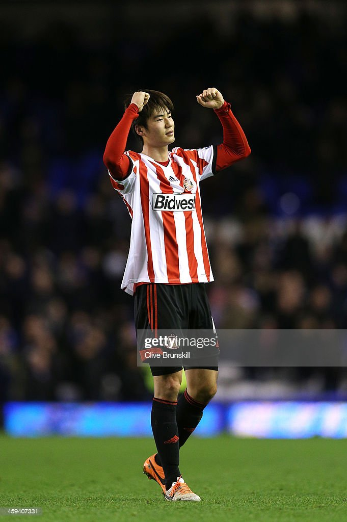 Goalscorer <a gi-track='captionPersonalityLinkClicked' href=/galleries/search?phrase=Ki+Sung-Yong&family=editorial&specificpeople=4252298 ng-click='$event.stopPropagation()'>Ki Sung-Yong</a> of Sunderland celebrates following his team's 1-0 victory during the Barclays Premier League match between Everton and Sunderland at Goodison Park on December 26, 2013 in Liverpool, England.