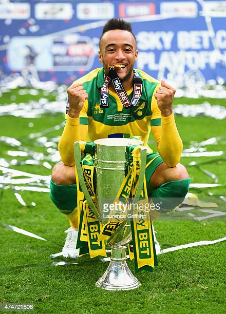 Goalscorer Nathan Redmond of Norwich City celebrates with the trophy after the Sky Bet Championship Playoff Final between Middlesbrough and Norwich...