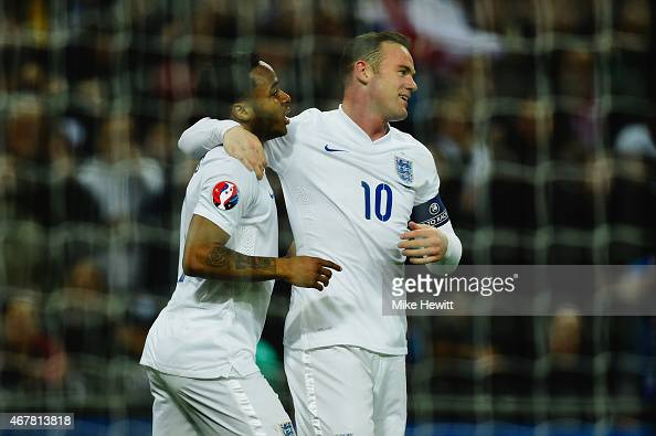 Goalscorer Raheem Sterling of England and Wayne Rooney of England celebrate the third goal during the EURO 2016 Qualifier match between England and...