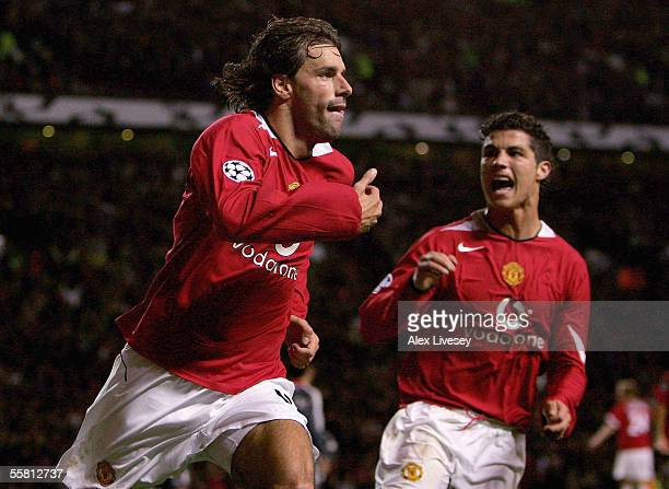 Goalscorer Ruud van Nistelrooy of Manchester United celebrates with Cristiano Ronaldo during the UEFA Champions League Group D match between...