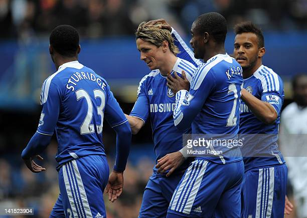 Goalscorer Salomon Kalou of Chelsea acknowledges Fernando Torres of Chelsea after he set him up for the second goal during the FA Cup sixth round...