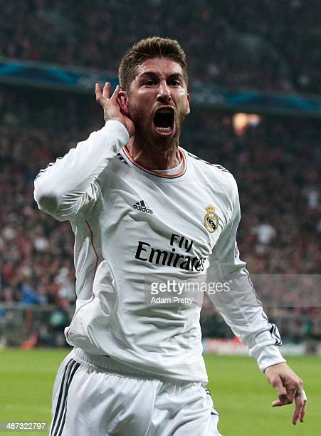 Goalscorer Sergio Ramos of Real Madrid celebrates his first goal during the UEFA Champions League semifinal second leg match between FC Bayern...