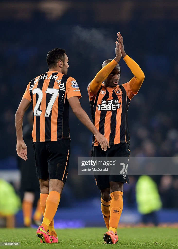 Goalscorer Sone Aluko of Hull City applauds the fans following his team's 1-1 draw during the Barclays Premier League match between Everton and Hull City at Goodison Park on December 3, 2014 in Liverpool, England.
