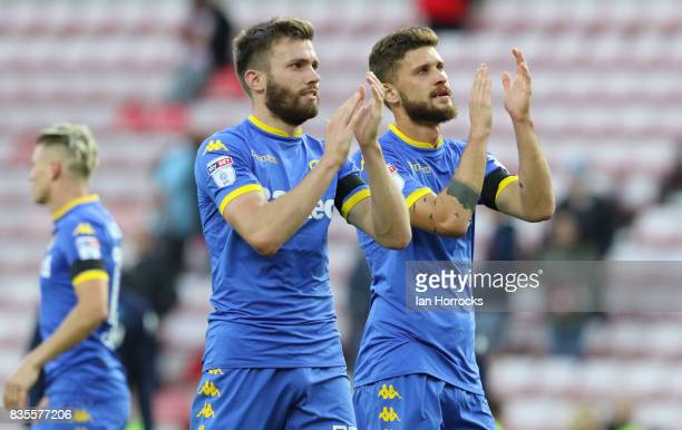 Goalscorer Stuart Dallas of Leeds during the Sky Bet Championship match between Sunderland and Leeds United at Stadium of Light on August 19 2017 in...
