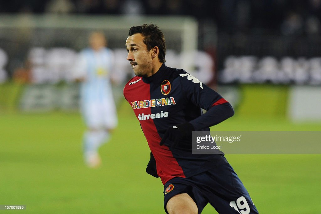 Goal-scorer <a gi-track='captionPersonalityLinkClicked' href=/galleries/search?phrase=Thiago+Ribeiro&family=editorial&specificpeople=5668762 ng-click='$event.stopPropagation()'>Thiago Ribeiro</a> of Cagliari during the TIM Cup match between Cagliari Calcio and Pescara at Stadio Is Arenas on December 5, 2012 in Cagliari, Italy.