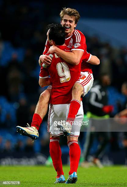 Goalscorers Patrick Bamford and Garcia Kike of Middlesbrough celebrate after the FA Cup Fourth Round match between Manchester City and Middlesbrough...