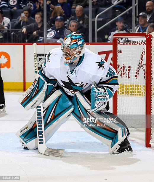 Goaltender Aaron Dell of the San Jose Sharks guards the net during third period action against the Winnipeg Jets at the MTS Centre on January 24 2017...