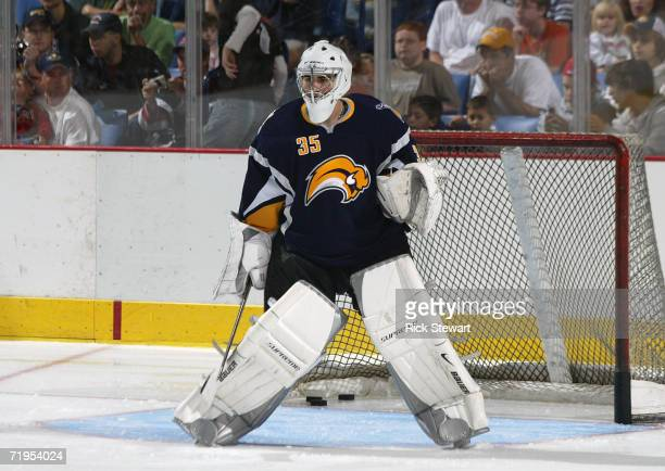 Goaltender Adam Dennis of the Buffalo Sabres warms up during a scrimmage after revealing their new uniform designs on September 16 2006 at HSBC Arena...