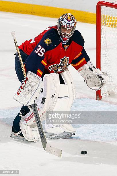 Goaltender Al Montoya of the Florida Panthers defends the net against the Ottawa Senators at the BBT Center on November 28 2014 in Sunrise Florida