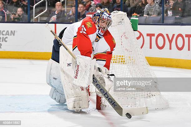 Goaltender Al Montoya of the Florida Panthers defends the net against the Columbus Blue Jackets on December 1 2014 at Nationwide Arena in Columbus...