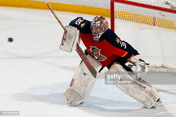 Goaltender Al Montoya of the Florida Panthers defends the net against the Detroit Red Wings at the BBT Center on January 27 2015 in Sunrise Florida
