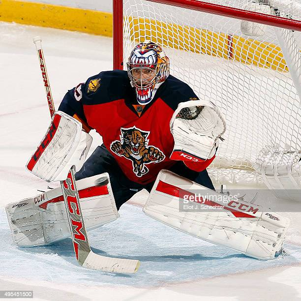 Goaltender Al Montoya of the Florida Panthers defends the net against the Washington Capitals at the BBT Center on October 31 2015 in Sunrise Florida