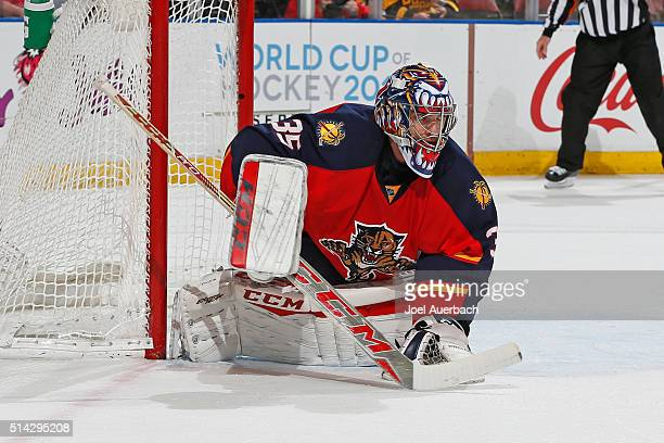 Goaltender Al Montoya of the Florida Panthers defends the net against the Boston Bruins during second period action at the BBT Center on March 7 2016...