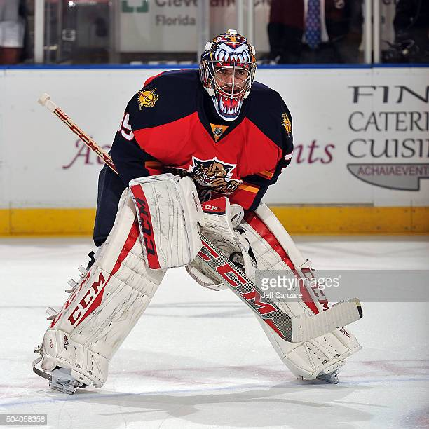 Goaltender Al Montoya of the Florida Panthers glides on the ice prior to the start of the game against the Montreal Canadiens at the BBT Center on...