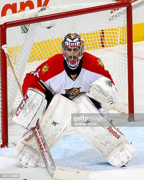 Goaltender Al Montoya of the Florida Panthers guards the net during third period against the Winnipeg Jets on January 13 2015 at the MTS Centre in...