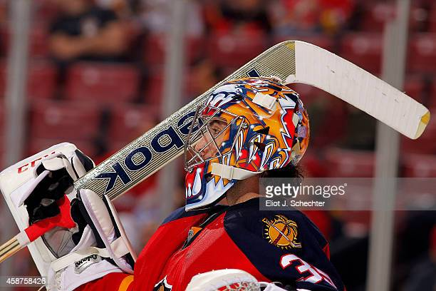 Goaltender Al Montoya of the Florida Panthers in front of the net during a break in the action against the Calgary Flames at the BBT Center on...