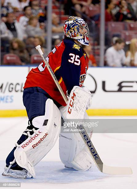 Goaltender Al Montoya of the Florida Panthers plays against the New Jersey Devils during the game at BBT Center on October 11 2014 in Sunrise Florida