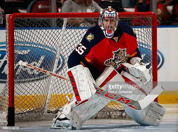 Goaltender Al Montoya of the Florida Panthers warms up on the ice prior to the start of the game against the Los Angeles Kings at the BBT Center on...