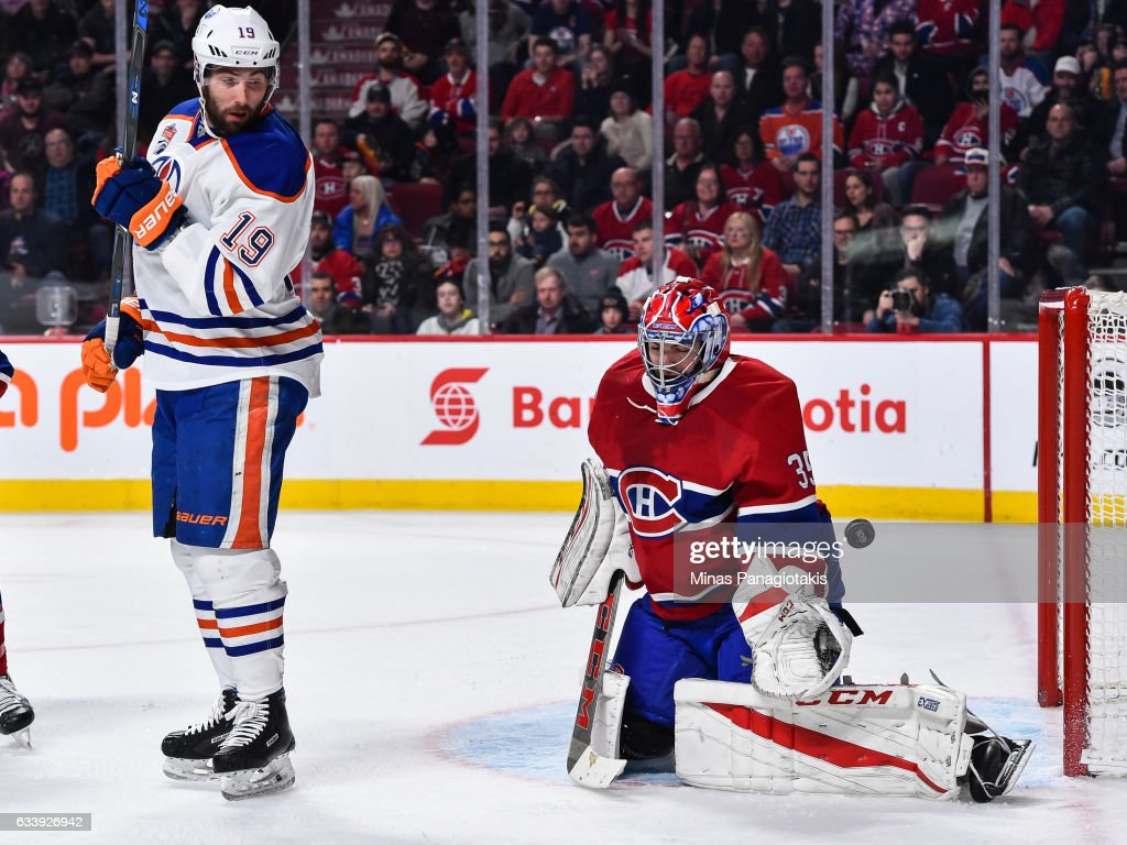 Goaltender Al Montoya #35 of the Montreal Canadiens makes a save near Patrick Maroon #19 of the Edmonton Oilers during the NHL game at the Bell Centre on February 5, 2017 in Montreal, Quebec, Canada.