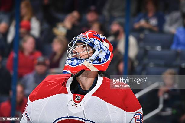 Goaltender Al Montoya of the Montreal Canadiens takes a breather against the Columbus Blue Jackets on November 4 2016 at Nationwide Arena in Columbus...
