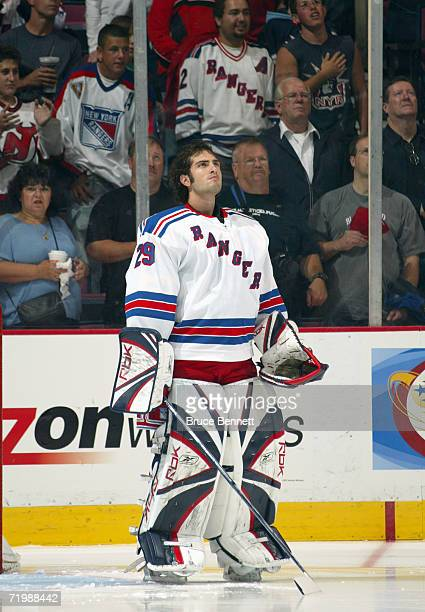 Goaltender Al Montoya of the New York Rangers skates during the preseason game against the New Jersey Devils on September 19 2006 at the Continental...