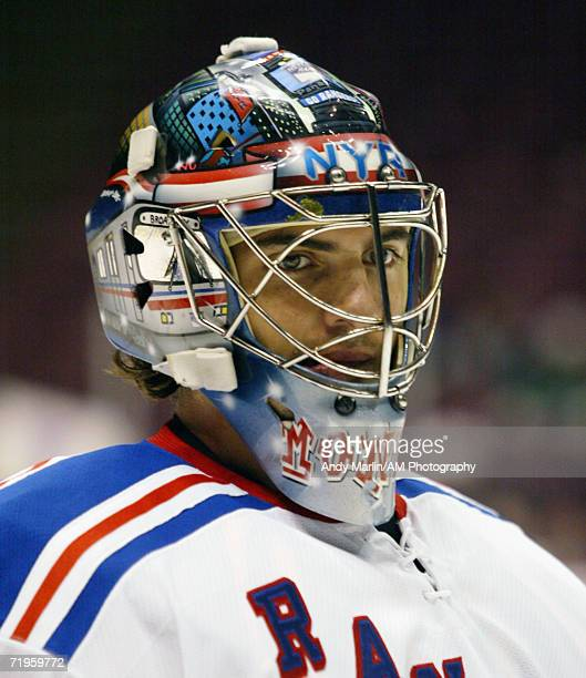 Goaltender Al Montoya of the New York Rangers takes a break during warmups before the game against the New Jersey Devils at the Continental Airlines...