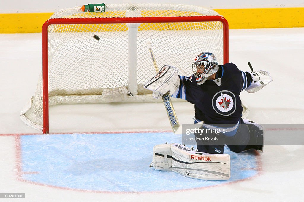 Goaltender Al Montoya #35 of the Winnipeg Jets turns to look as the puck finds the back of the net off a shot by Alex Ovechkin #8 of the Washington Capitals (not shown) for a second period goal at the MTS Centre on March 22, 2013 in Winnipeg, Manitoba, Canada.