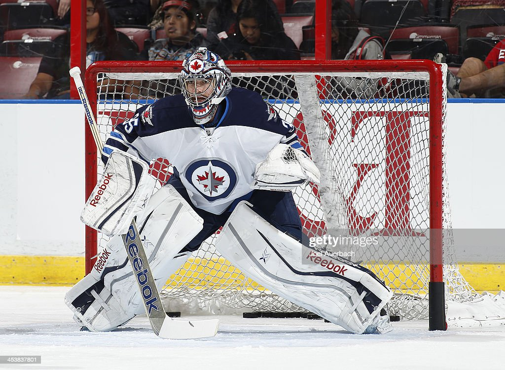 Goaltender Al Montoya #35 of the Winnipeg Jets warms up prior to the game against the Florida Panthers at the BB&T Center on December 5, 2013 in Sunrise, Florida.