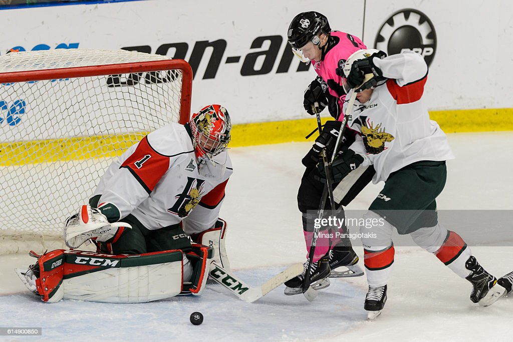 Goaltender Alexis Gravel #1 of the Halifax Mooseheads makes a pad save on William Gignac #10 of the Blainville-Boisbriand Armada during the QMJHL game at the Centre d'Excellence Sports Rousseau on October 15, 2016 in Boisbriand, Quebec, Canada.