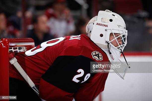Goaltender Anders Lindback of the Arizona Coyotes in action during the NHL game against the Columbus Blue Jackets at Gila River Arena on December 17...