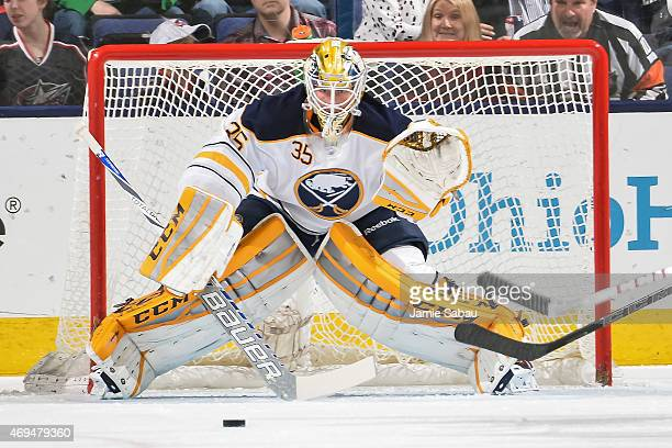 Goaltender Anders Lindback of the Buffalo Sabres defends the net against the Columbus Blue Jackets on April 10 2015 at Nationwide Arena in Columbus...