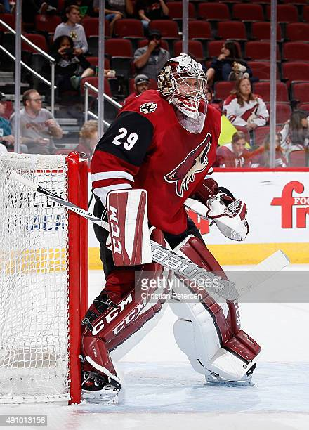 Goaltender Anders Lindback of the Red team in action during the Arizona Coyotes scrimmage game at Gila River Arena on September 24 2015 in Glendale...