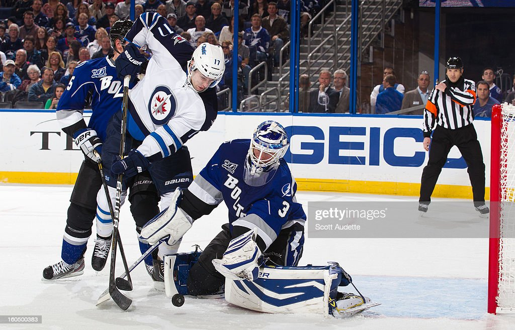 Goaltender Anders Lindback #39 of the Tampa Bay Lightning blocks a shot by James Wright #17 of the Winnipeg Jets during the second period of the game at the Tampa Bay Times Forum on February 1, 2013 in Tampa, Florida.