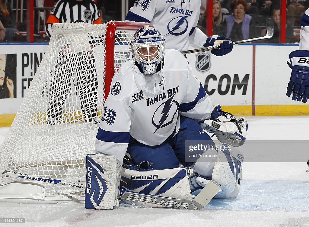 Goaltender Anders Lindback #39 of the Tampa Bay Lightning defends the net against the Florida Panthers during first period action at the BB&T Center on February 16, 2013 in Sunrise, Florida.