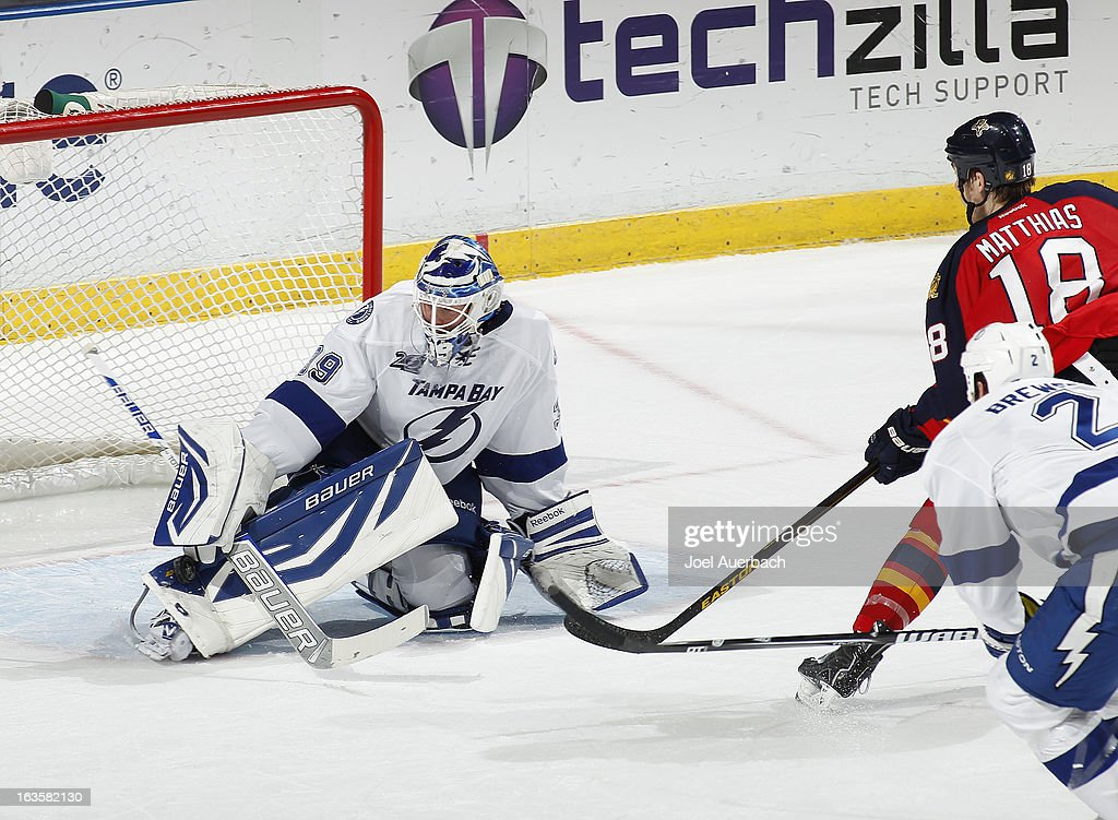 Goaltender <a gi-track='captionPersonalityLinkClicked' href=/galleries/search?phrase=Anders+Lindback&family=editorial&specificpeople=7211274 ng-click='$event.stopPropagation()'>Anders Lindback</a> #39 of the Tampa Bay Lightning stops a shot by Shawn Matthias #18 of the Florida Panthers late in the third period at the BB&T Center on March 12, 2013 in Sunrise, Florida. The Lightning defeated the Panthers 3-2.
