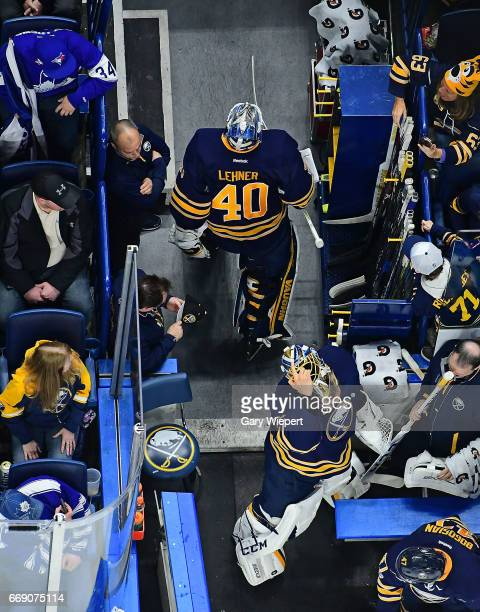Goaltender Anders Nilsson of the Buffalo Sabres replaces Robin Lehner in net during an NHL game against the Toronto Maple Leafs at the KeyBank Center...