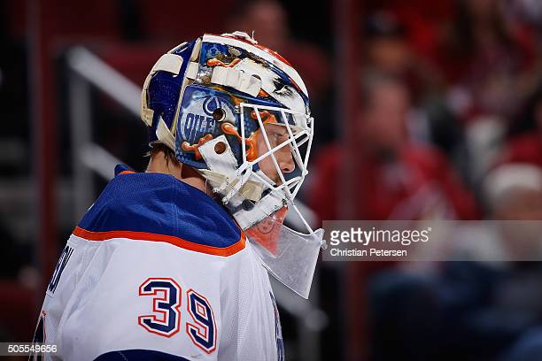 Goaltender Anders Nilsson of the Edmonton Oilers during the NHL game against the Arizona Coyotes at Gila River Arena on January 12 2016 in Glendale...