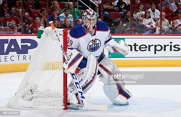 Goaltender Anders Nilsson of the Edmonton Oilers in action during the NHL game against the Arizona Coyotes at Gila River Arena on November 12 2015 in...