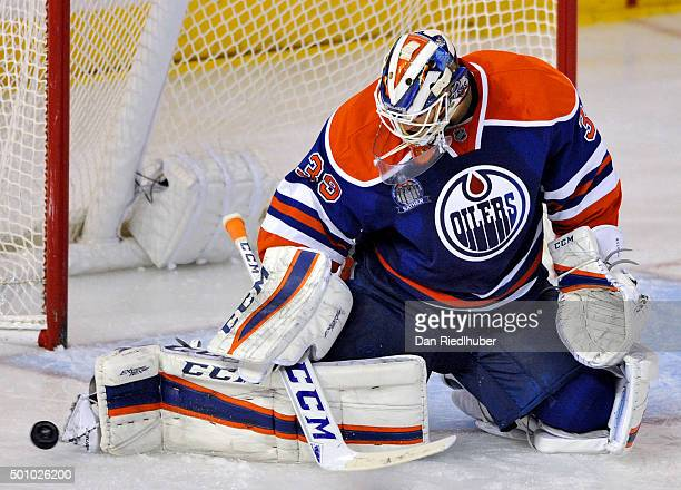 Goaltender Anders Nilsson of the Edmonton Oilers makes a save again the New York Rangers at Rexall Place on December 11 2015 in Edmonton Alberta...