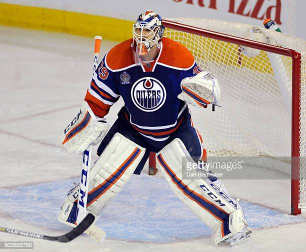 Goaltender Anders Nilsson of the Edmonton Oilers tends net against the New York Rangers at Rexall Place on December 11 2015 in Edmonton Alberta Canada