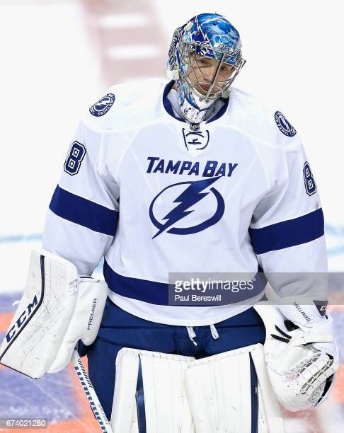 Goaltender Andrei Vasilevskiy of the Tampa Bay Lightning warms up before the game against the New York Islanders at Barclays Center on April 4 2016...