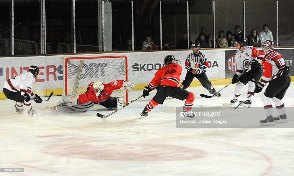 Goaltender Antoine Bonvalot of Briancon Diables Rouges makes a save during the Champions Hockey League group stage game between Briancon Diables Rouges and Frolunda Gothenburg on August 23, 2014 in Briancon, France.