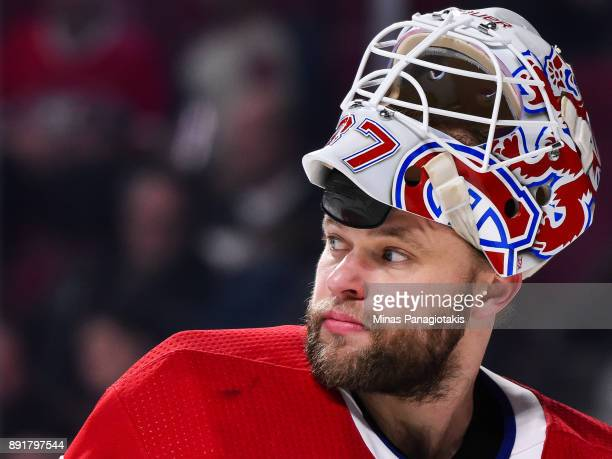 Goaltender Antti Niemi of the Montreal Canadiens looks on against the Edmonton Oilers during the NHL game at the Bell Centre on December 9 2017 in...