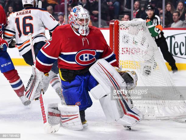 Goaltender Antti Niemi of the Montreal Canadiens protects his net against the Edmonton Oilers during the NHL game at the Bell Centre on December 9...