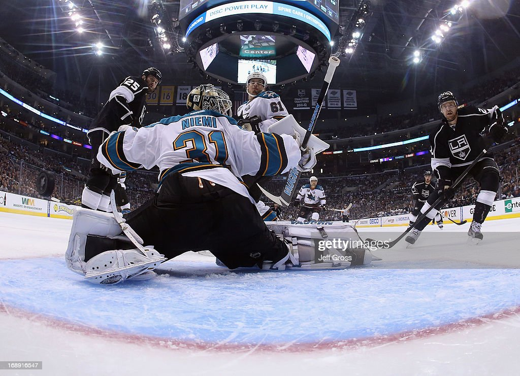 Goaltender <a gi-track='captionPersonalityLinkClicked' href=/galleries/search?phrase=Antti+Niemi&family=editorial&specificpeople=213913 ng-click='$event.stopPropagation()'>Antti Niemi</a> #31 of the San Jose Sharks gives up a goal to Drew Doughty (not pictured) of the Los Angeles Kings in the second period of Game Two of the Western Conference Semifinals during the 2013 NHL Stanley Cup Playoffs at Staples Center on May 16, 2013 in Los Angeles, California. The Kings defeated the Sharks 4-3.
