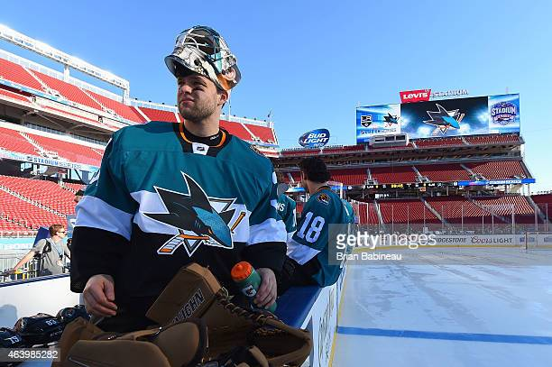 Goaltender Antti Niemi of the San Jose Sharks waits to take the ice for practice one day prior to the 2015 Coors Light Stadium Series game between...