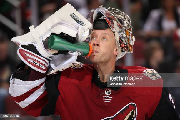 Goaltender Antti Raanta of the Arizona Coyotes during the NHL game against the Vegas Golden Knights at Gila River Arena on October 7 2017 in Glendale...